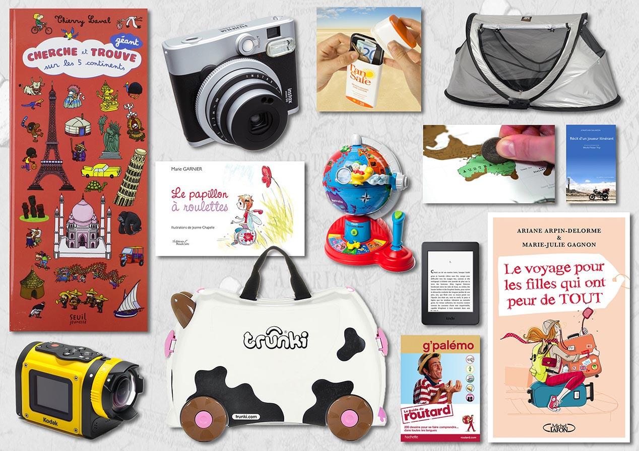 Des objets ou des gadgets autour du voyage évidemment, mais aussi des cadeaux pour faire plaisir, s'amuser, partager ou s'instruire…