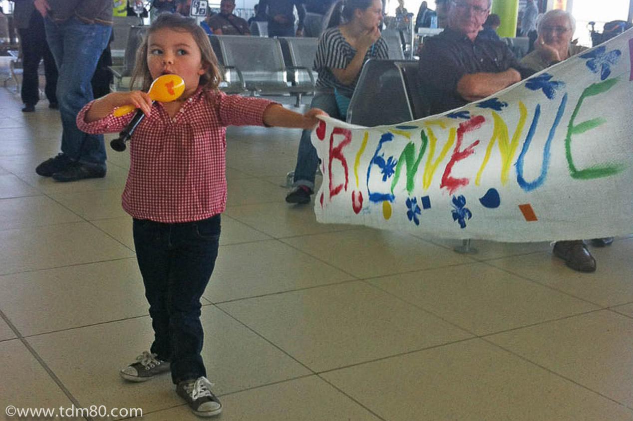 La banderole d'accueil pour les amis voyageurs !